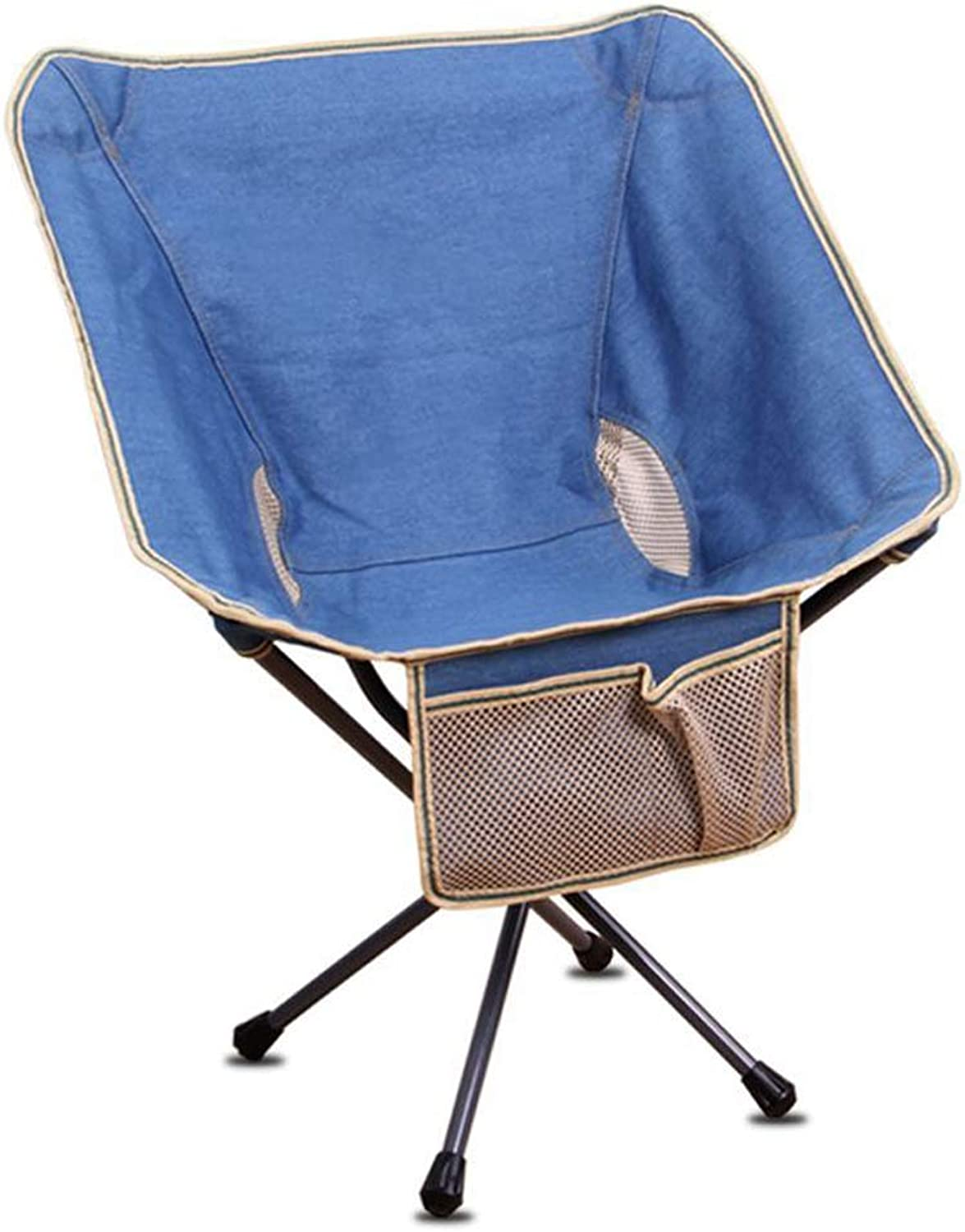 Camping Chair Heavy Duty Lumbar Back Support Oversized Quad Arm Chair Padded Folding, Supports 264 lbs,bluee