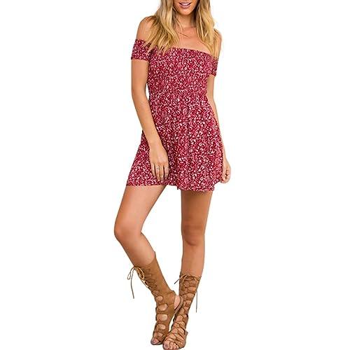 c27df32a67e BerryGo Women s Vintage Off Shoulder High Waist Floral Print Beach Mini  Dress