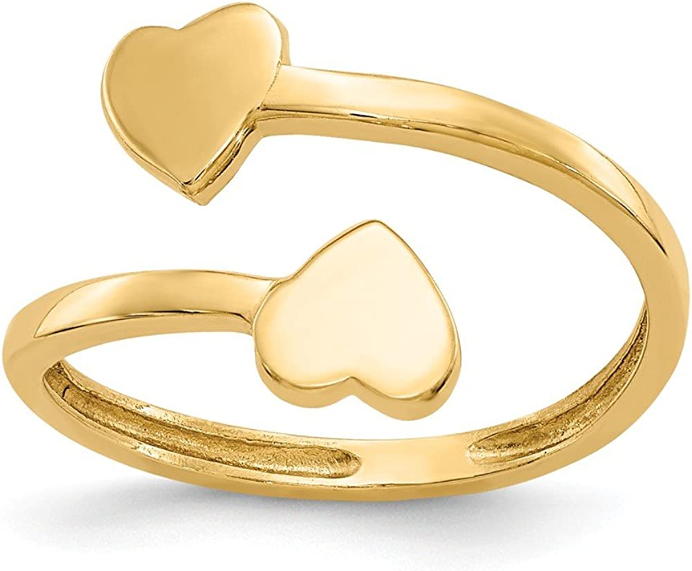 14K Yellow Gold Double Heart Bypass Toe Ring