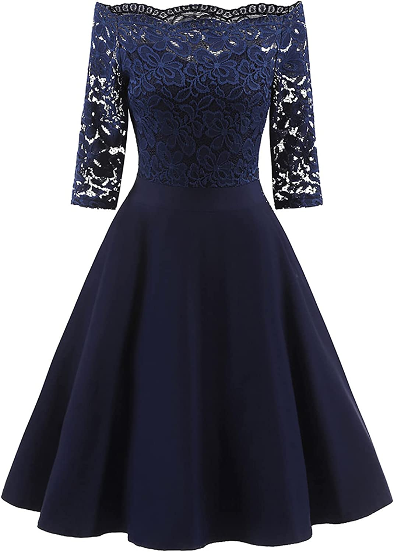 Women's Vintage Lace Cocktail Dress Off Shoulder Cocktail Party Retro Swing Dress Formal Party Dress