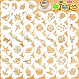Konsait Coffee Stencil, 46 Pieces Latte Art Stencils for Coffee Decorations, Magnoloran Foam Barista Templates Oatmeal Cupcake Cake Cookies Hot Chocolate Template Stencil for Yoga Gem Sports Morning