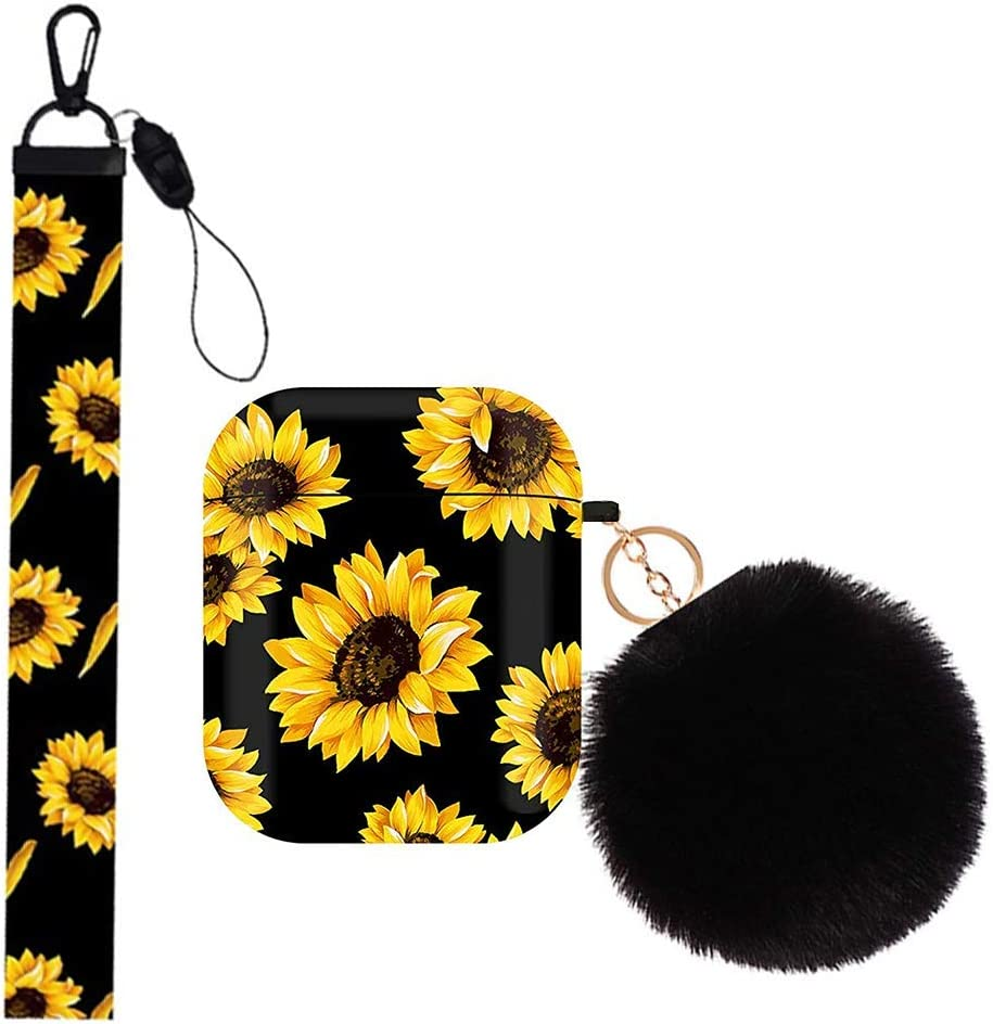 Yodaoo AirPods Case Cover, Cute Floral Hard Protective Case Shockproof Cover with Sunflower Hand Lanyard, Compatible with Apple AirPods Wireless Charging Case 2&1 for Girls Boys Women Men (Sunflower)