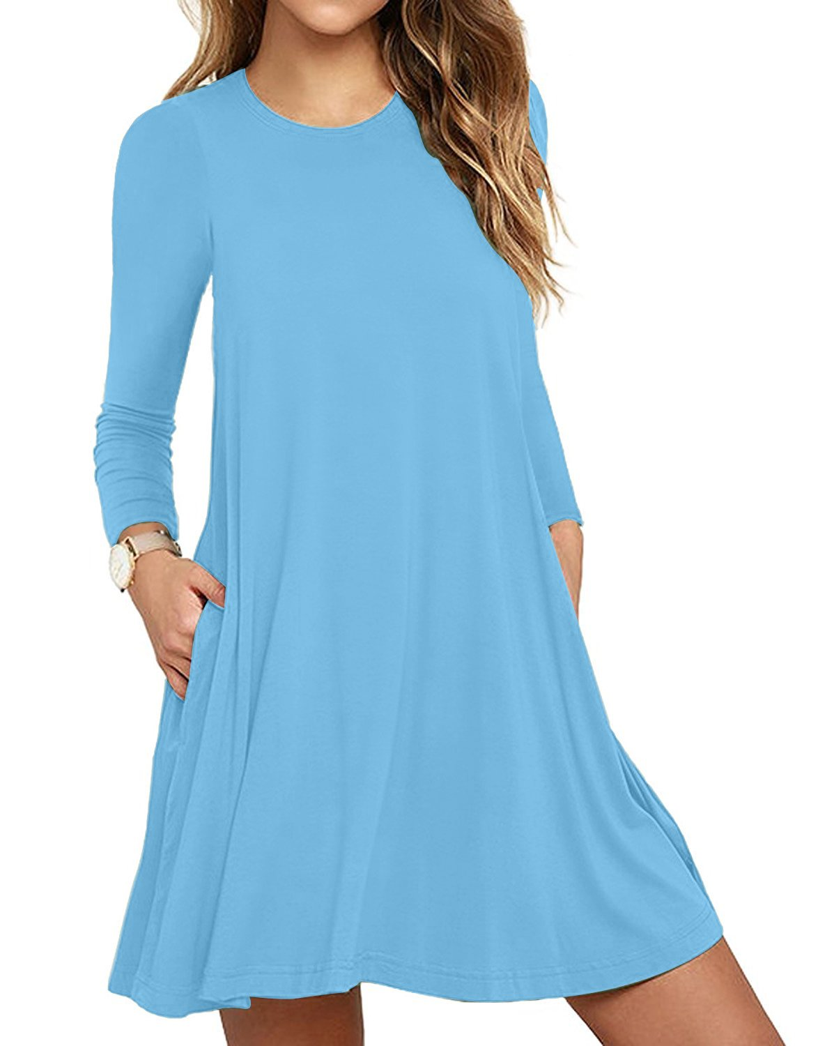 Available at Amazon: HAOMEILI Women's Long Sleeve Pockets Casual Loose T-Shirt Dresses