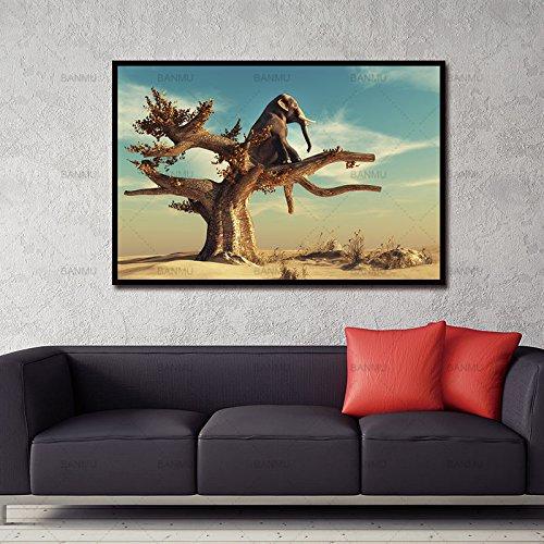 Geiqianjiumai canvas print moderne afbeelding grappige olifanten zittend decoratie boom dier muurkunst frameloos schilderij