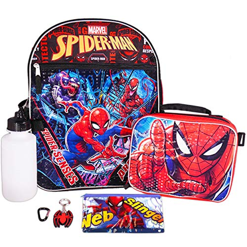 Marvel Spiderman Backpack and Lunch Box Bundle ~ 6-Pc Spider-Man School Supplies Set with Backpack, Lunch Bag, and More