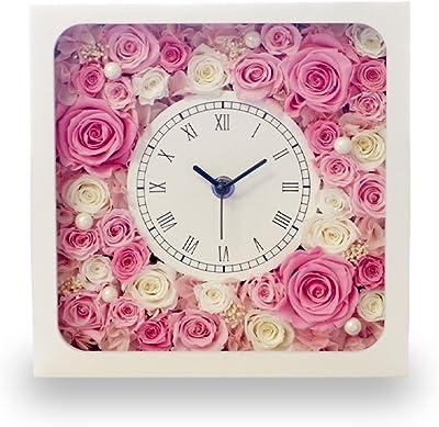 プリザーブドフラワー 時計 花時計 スクウェア ピンク&ホワイト