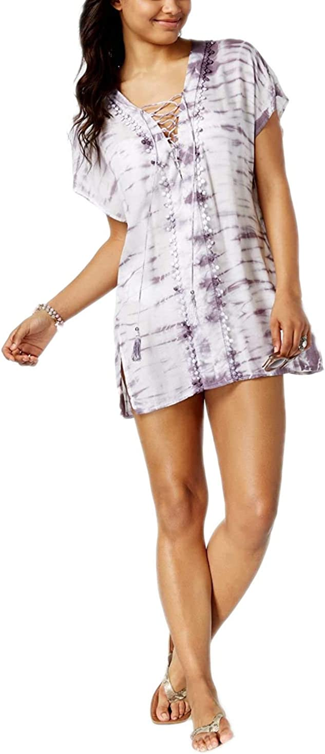 Raviya Women's Lace-Up Tie-Dyed Tunic Swim Cover-up, Plum, M