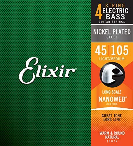 Cuerdas para bajo de 4 cuerdas Elixir® Strings de acero niquelado con recubrimiento NANOWEB®, escala larga, calibre ligero/mediano (.045-.105)