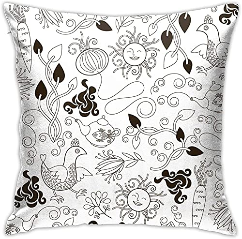 BONRI Throw Pillow Case, Cute Cartoon Pillow Cover, Funda de Almohada Decorativa Cojín Cuadrado para sofá Sofá Coche 18x18