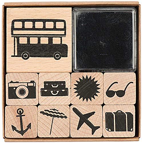 Rico Design Paper Poetry Stempelset Urlaub - Holzstempel mit Stempelkissen zum Basteln für Kinder - 9 Motive - Stempel aus Holz DIY