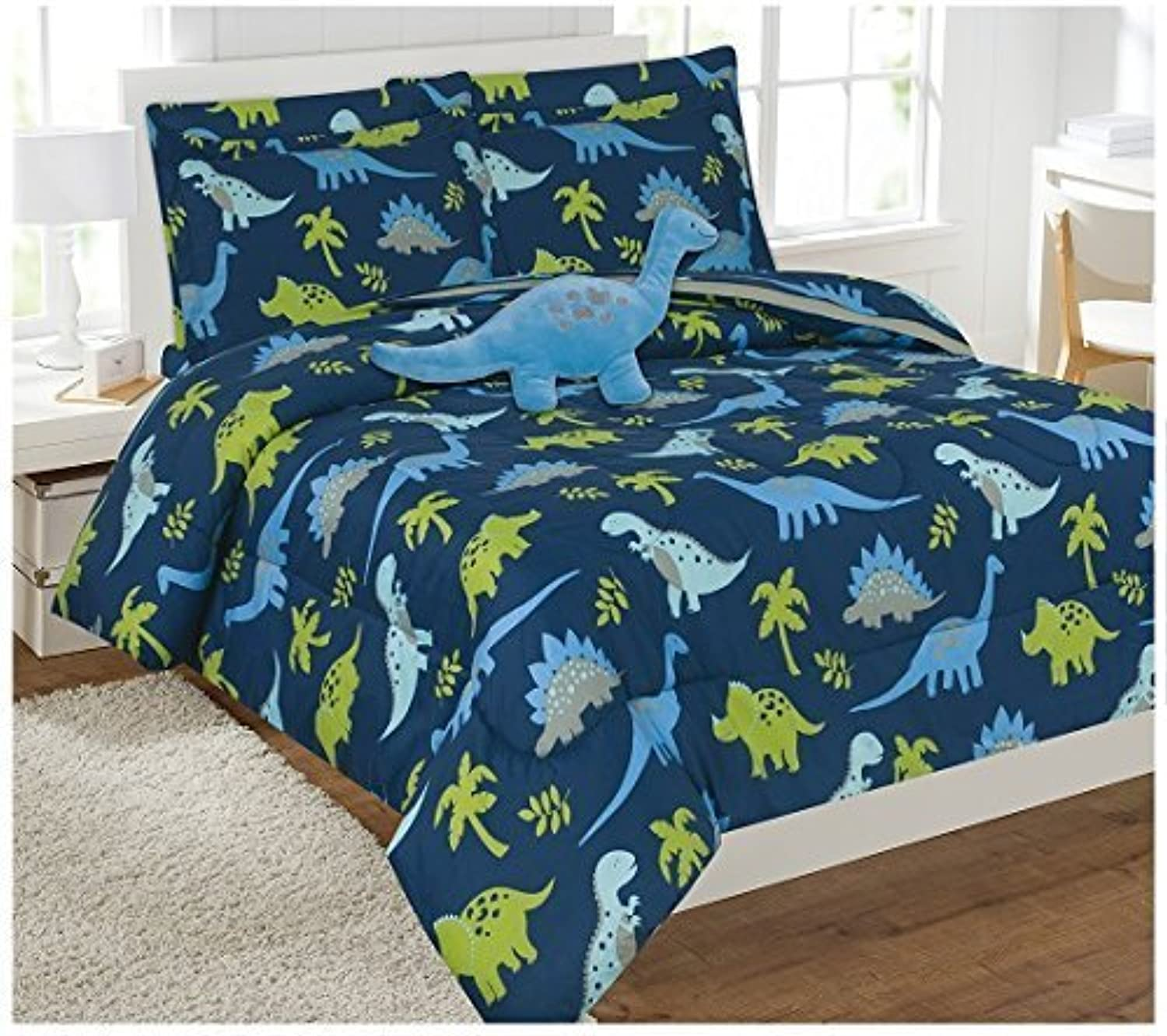 Elegant Home Multicolor Dark bluee Green Dinosaurs Jurassic Park Design 8 Piece Comforter Bedding Set for Boys Kids Bed In a Bag With Sheet Set & Decorative TOY Pillow   Dinosaurs bluee (Full Size)
