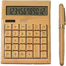 $63 » Bamboo Wooden Solar Calculators Standard Function Desktop Calculator with 12-Digit Large Display for Home Office School (C...