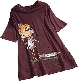 eb79ac21f VEMOW Camiseta de Manga Corta con Capucha y Estampado de Dibujos Animados  Casual para Mujer tamaño