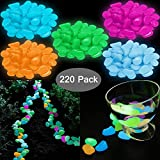 YuCool 220 Pcs Glow in The Dark Garden Pebbles Stones, Pebbles Rocks for Garden Walkways Outdoor...