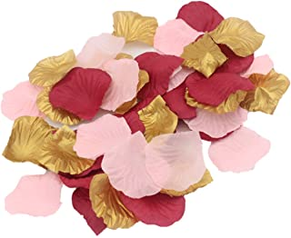 ALLHEARTDESIRES 900 Pack Blush Pink Burgundy Gold Party Confetti Artificial Flower Petals for Wedding Engagement Bachelorette Party Hen Night Bridal Shower Decoration Favor