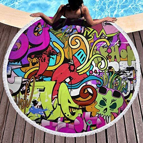 Baño Textiles de baño Toallas Toallas de playa Abstract Mid Century Modern Grid Round Beach Towel Soft Microfiber Thick Large Tapestry Table Cloths Roundie Beach Blanket Throw Picnic Yoga Mat Terry wi