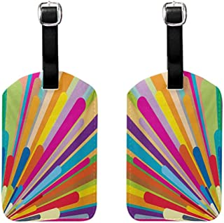 Vintage Rainbow luggage tags leather Burst of Vibrant Colored Lines Funky Graphic Disco Design from the Sixties Professional personality DIY printing Multicolor 2 packs