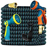 Knoikos Expandable Garden Hose 100ft - Expanding Water Hose with 10 Function Nozzle 2 Pack, Easy Storage Garden Water...