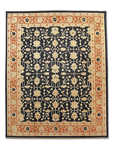 Pak Persian Rugs Handgeknüpfter Ushak Teppich, Schwarz, Wolle, Medium, 246 X 296 cm
