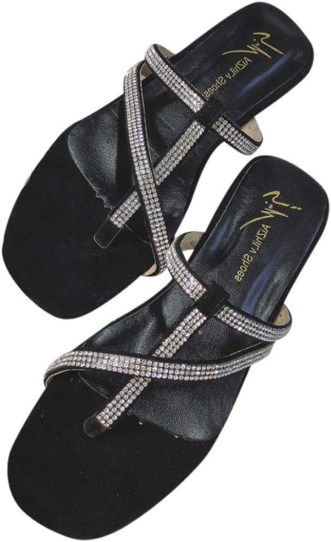 Btrada Women Summer Flat Sandals Holiday Beach Clip Toe Slippers Rhinestones Girls Fashion Sandale
