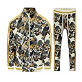 G-Style USA Men's Royal Floral Tiger Track Suit ST559 - Off-White - Large