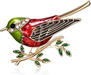 SOURBAN Cartoon Rhinestone Bird Sparrow on Branch Brooch Pin Collar Jacket Hat Badge,Green