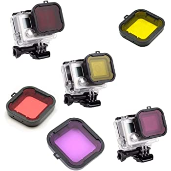 Color Correction Compensation Filters for Underwater Video Photography Filming Red Yellow Purple Grey Williamcr 4 Pack Diving Lens Filters for GoPro Hero 4 3