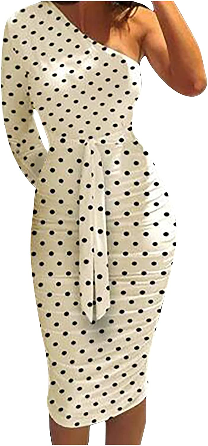 Max 75% OFF Womens Summer Sexy Dresses One Ruched Long Wrap Sleeve Soldering Shoulder