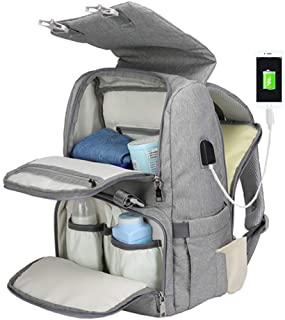 Diaper Bag Backpack for Mom&Dad, Large Capacity Baby Nappy Bag w/Changing Pad (Grey)