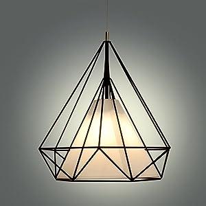 Industrial Diamante estilo de luz de techo, SUN RUN Creative retro alambre Bird Cage luminaria arañas lámpara colgante de metal vintage con acabado pintado para comedor cocina