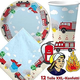 DH-Konzept - Juego de platos, vasos y servilletas de papel para fiesta (37 piezas, confeti XXL, desechables), diseño de bomberos