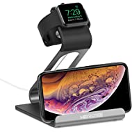 Mercase Apple Watch Stand with NightStand Mode and Cell Phone Charging Station TPU Aluminum...
