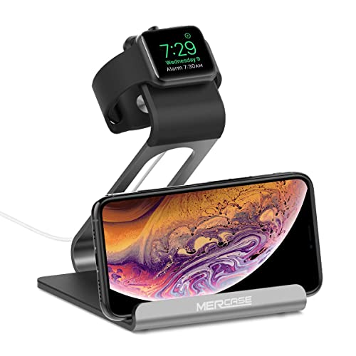 Mercase Apple Watch Stand with NightStand Mode and Cell Phone Charging Station TPU Aluminum iWatch Docking