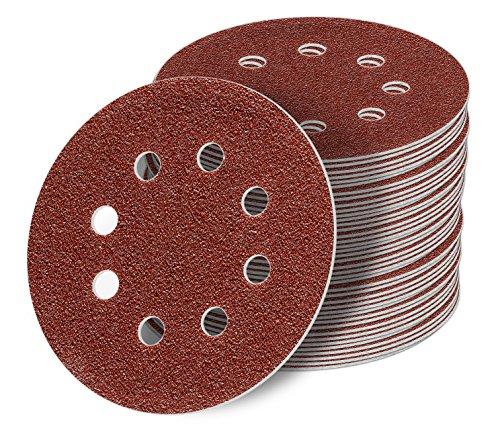 125 mm red Exzenter Schleifscheiben Sortiment SET 50 Scheiben P800 P600 P400 P320 P240, 8 Loch Klett Schleifpapier