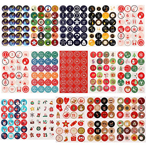 Gonovo 360Pcs Christmas Advent Calendar Number Stickers 1-24 Christmas Calendar Paper Stickers for Crafting Christmas Candy Sealing Ornaments Gift Labels