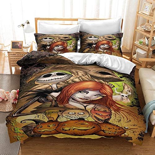 GNZY 3D Printed Bedding Set The Nightmare Before Christmas Character Printed Bedding Set Anime Children's Bed Linen Set Quilt Cover+Pillowcase*2(Various Sizes),Full