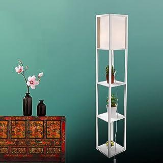 YU YUSING Lampadaire en bois, Design Lampe sur Pied avec 3 Niveaux Etagères und E27 Base, 1.6M Lampadaire étagère, pour ch...
