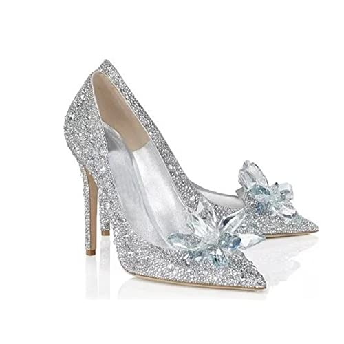 263d332f420c Cinderella Movie 2015 The Glass Slipper Princess Crystal Shoes Adult Size
