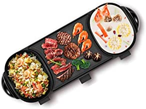 AJH Hot Pot Multifonctionnel Portable, 2 en 1 en Acier Inoxydable Barbecue électrique Grill Plat de Friction intérieur, Cu...
