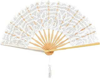 Bridal Hand Fan in Lace, Silk and Wood - Perfect for her Wedding Day! (X-Large)
