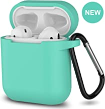 AirPods Case,SATLITOG Protective Silicone Cover Compatible with Apple AirPods 2 and 1(Not for Wireless Charging Case)(Mint Green)
