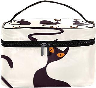 AyuStyle バニティポーチ コスメバッグ 化粧ポーチ メイクケース 小物入れ ネコ 猫 猫柄 かわいい バッグ 化粧道具 化粧品 収納 女性用 大容量 旅行 出張 持ち運び便利