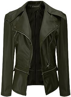 611ca0f92116a Gergeos Womens Pu Leather Jacket Winter Long-Sleeved Lapel Zipper Coat  Slim-Fit Parka
