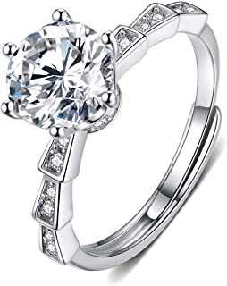 Moissanite Engagement Ring 2CT 18K White Gold Plated Silver 6-Prong D Color Ideal Cut Diamond Wedding Ring for Women with ...