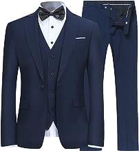 YFFUSHI Men's Slim Fit 3 Piece Suit One Button Business Wedding Prom Suits Blazer Tux Vest & Trousers