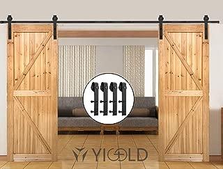 YIGOLD 8 Sliding Door Hardware Kit for Barn Doors Carbon Steel,Ultra Smoothly and Quietly Design,Easy Installation,Fit Double Wide Door Panel,J Shape Hanger;Black