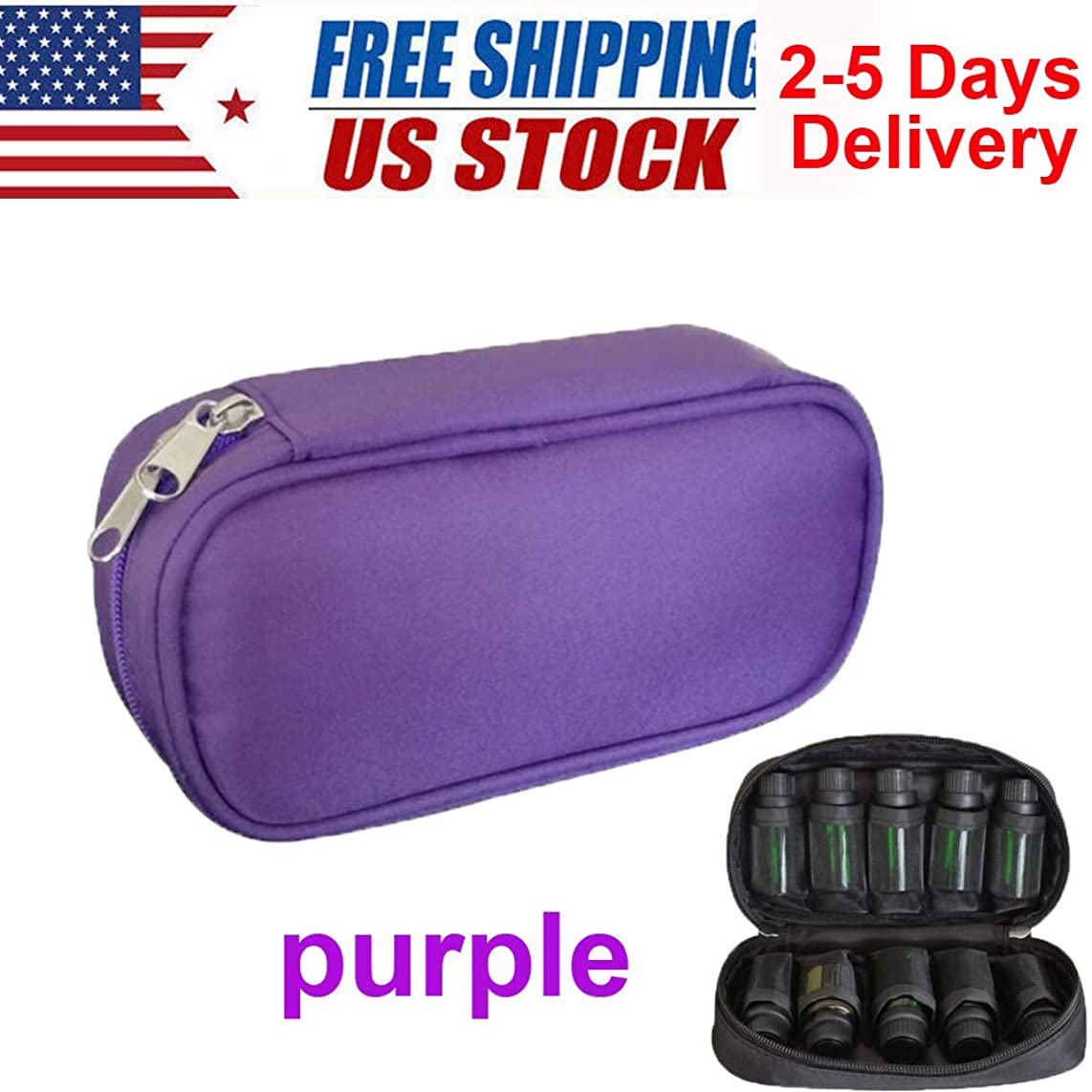 10 Grids Essential Oils Storage Bag for Traveling, Oil Carrying Case Cosmetic Storage Bags Container Make up Bag from USA Stock