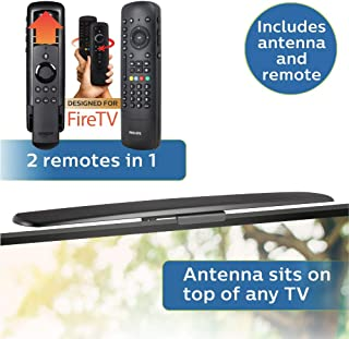 Philips Amplified HD TV Antenna + Universal Companion Remote Control for Fire TV, Full 1080P 4K Ultra HD VHF UHF, 4 Device, Ideal for New TVs, Apartments, Dorms, Entertainment Centers