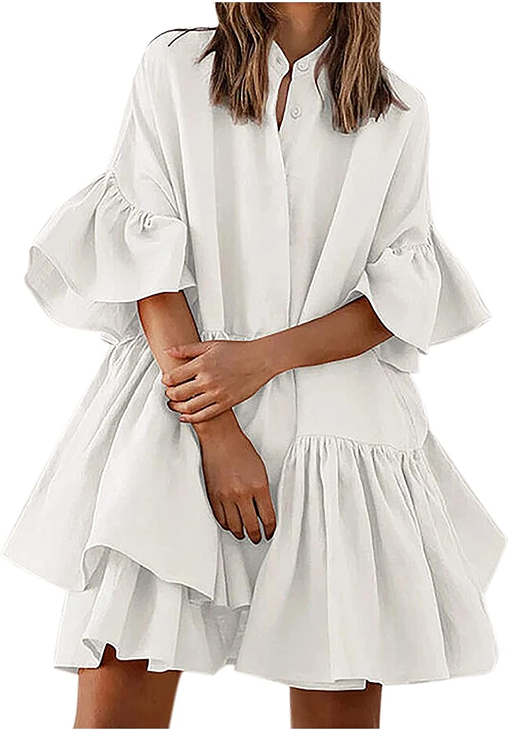 Sun Dresses Women Summer Women's Summer Loose Solid Color High-End Flared Sleeve Pleated Dress Womens Dresses