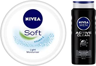NIVEA Soft Light Moisturiser With Vitamin E, 200ml & MEN Hair, Face & Body Wash, Active Clean Shower Gel, 500ml Combo